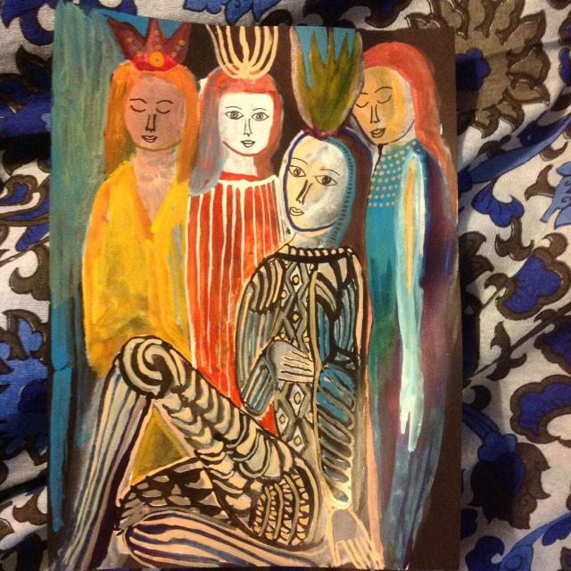 Painting angels with mom, part three (my picture) - Arrington de Dionyso